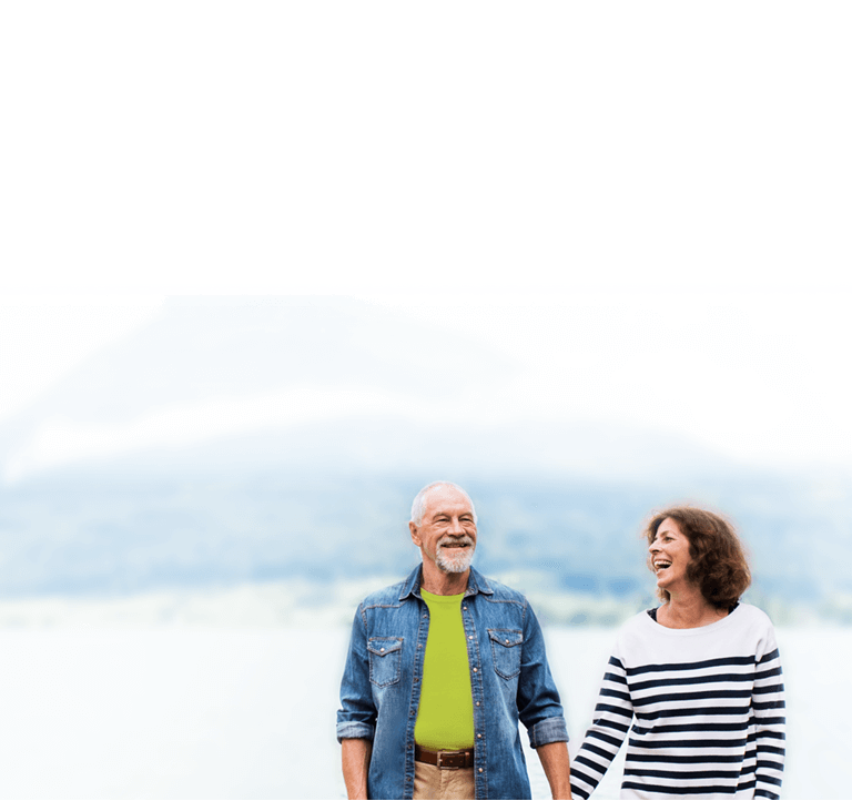 Image of a happy couple by a lake